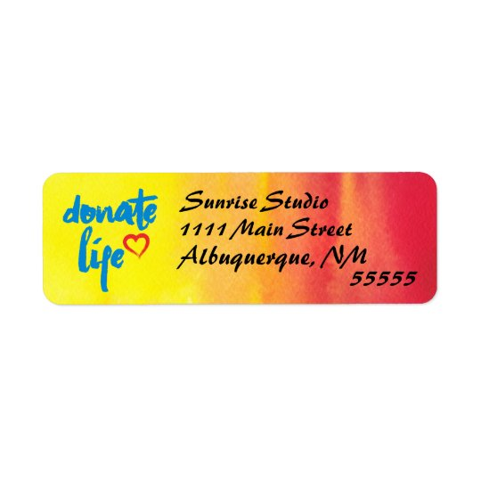 Donate Life with red and yellow watercolor Return Address Label