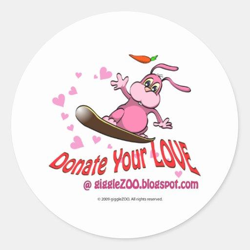 Donate Your Love with Valentine Bunnie Round Stickers