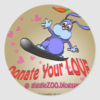 Donate Your Love with Valentine Bunny Round Stickers