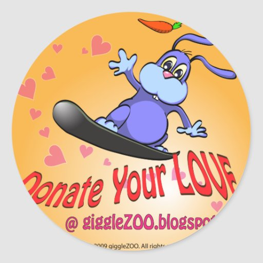 Donate Your Love with Valentine Bunny Stickers