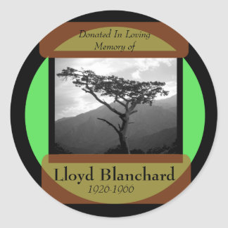 Donated in Memory of - standard font Classic Round Sticker