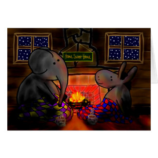 donkey and elephant by fire card
