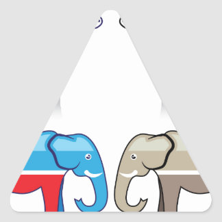 Donkey and Elephant Political Parties Triangle Sticker