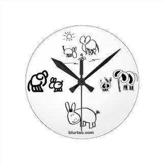 donkey and elephant tell time round clock