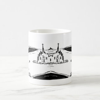 donkey and elephant with bug and cathedral coffee mug