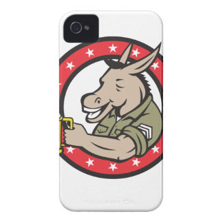 Donkey Beer Drinker Circle Retro iPhone 4 Cover