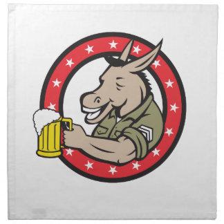 Donkey Beer Drinker Circle Retro Napkin
