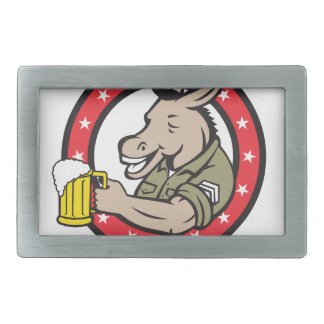 Donkey Beer Drinker Circle Retro Rectangular Belt Buckle