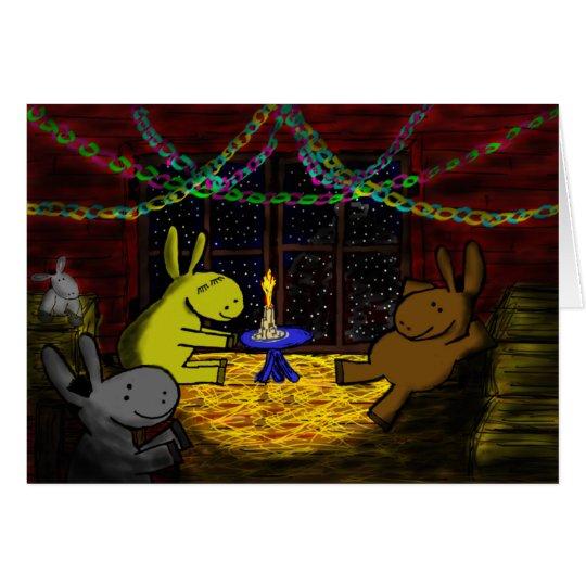 donkey christmas in barn loft card