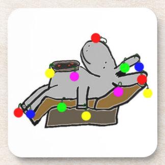 donkey decorated as Christmas tree Coaster