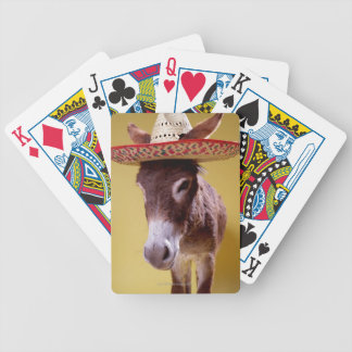 Donkey (Equus hemonius) wearing straw hat Bicycle Playing Cards