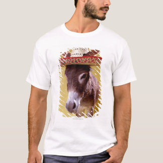 Donkey (Equus hemonius) wearing straw hat T-Shirt