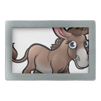 Donkey Farm Animals Cartoon Character Rectangular Belt Buckle