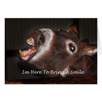 Donkey I m here to bring a smile Greeting Card