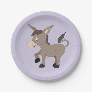 Donkey illustration kids' paper plates
