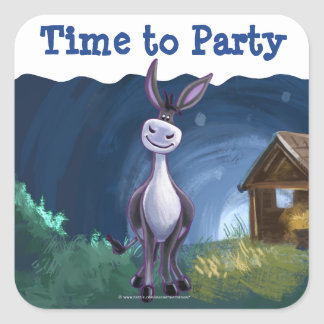 Donkey Party Center Square Sticker