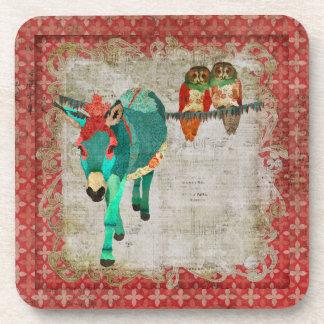 Donkey & Rose Owls Cork Coaster