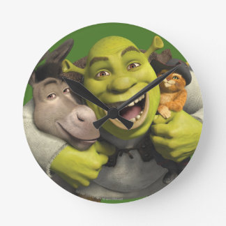 Donkey, Shrek, And Puss In Boots Wallclock