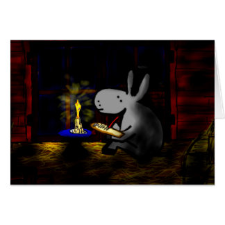 donkey writing by candlelight card