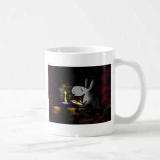 donkey writing by candlelight coffee mug