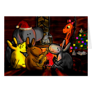 donkeys, giraffe, elephant celebrate the holidays card