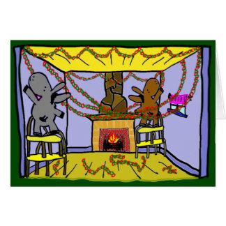 donkeys hainging christmas chains card