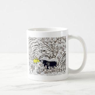 donkeys in snow coffee mug