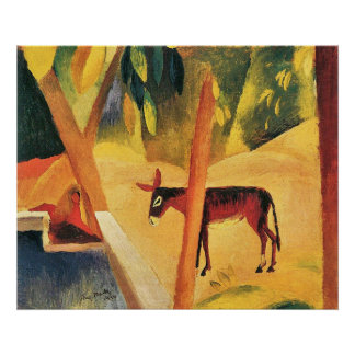 Donkeys in the palms by August Macke Poster