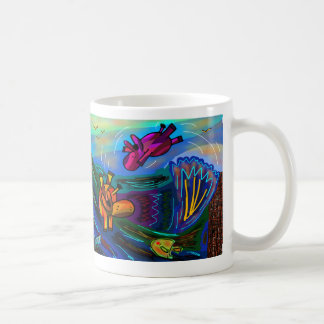 donkeys swimming coffee mug