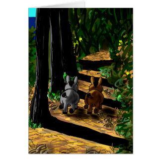 donkeys walking in shadows card