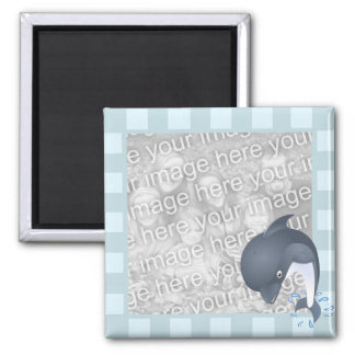 Donny Dolphin Blue Striped Photo Frame Style Square Magnet