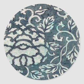 Donsu, damask with light green peony arabesque Uki Classic Round Sticker