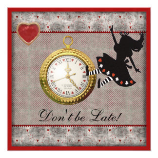 Don't be Late Alice in Wonderland Birthday Party Personalized Invite