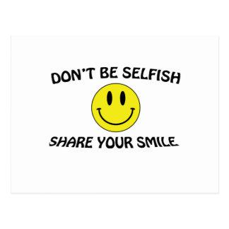 don't be selfish postcard