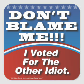 Dont Blame Me I Voted For Other Idiot Square Sticker