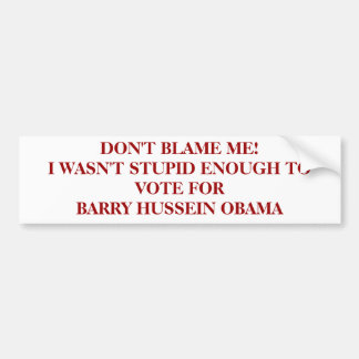 DON'T BLAME ME!I WASN'T STUPID ENOUGH TO VOTE F... BUMPER STICKER