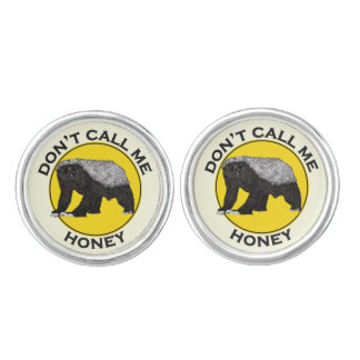 Don't Call Me Honey Honey Badger Feminist Design Cuff Links