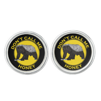 Don't Call Me Honey, Honey Badger Feminist Slogan Cuff Links