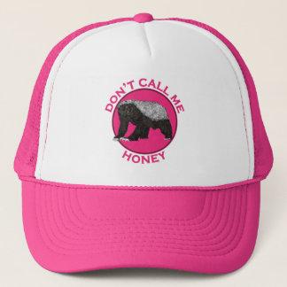 Don't Call Me Honey Honey Badger Pink Feminist Art Trucker Hat
