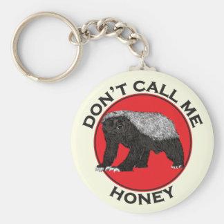 Don't Call Me Honey, Honey Badger Red Feminist Art Key Ring