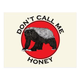 Don't Call Me Honey, Honey Badger Red Feminist Art Postcard