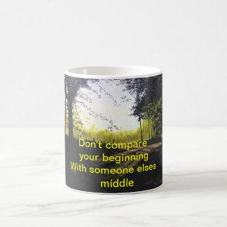 """""""DON'T COMPARE YOUR BEGINNING MUG"""" BASIC WHITE MUG"""