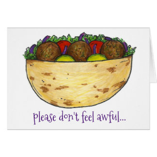 Don't Feel Awful Falafel Funny Get Well Soon Card