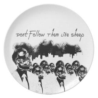 Don't follow them like sheep plate