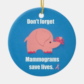 Don't forget Mammograms save lives. Round Ceramic Decoration