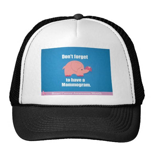 Don't forget to have a mammogram. mesh hat