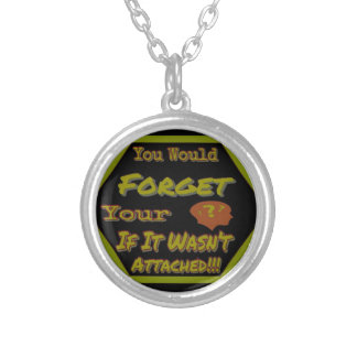Dont Forget Your Head Green Silver Plated Necklace