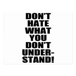 don't hate postcard