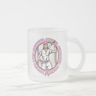 Don't Let Cancer Steal 2nd Base Breast Cancer Frosted Glass Mug
