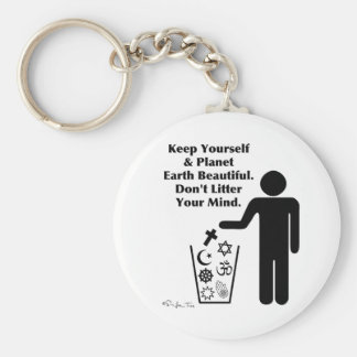 Don't Litter Your Mind Basic Round Button Key Ring